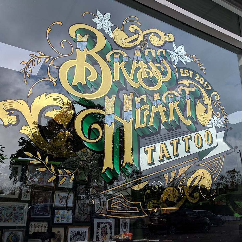 Paul banks signwriting and design sign writer for Gilded heart tattoo